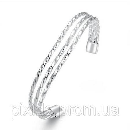 Браслет бангл три спирали покрытие 925 серебро