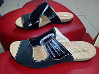 Кожаные с замшей женские шлёпанцы Dixi чёрные. , фото 1
