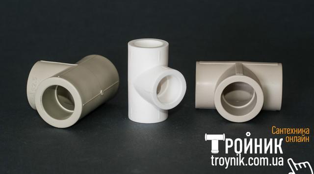 Соединительные проходные полипропиленовые тройники белые и серые TEBO и FORA
