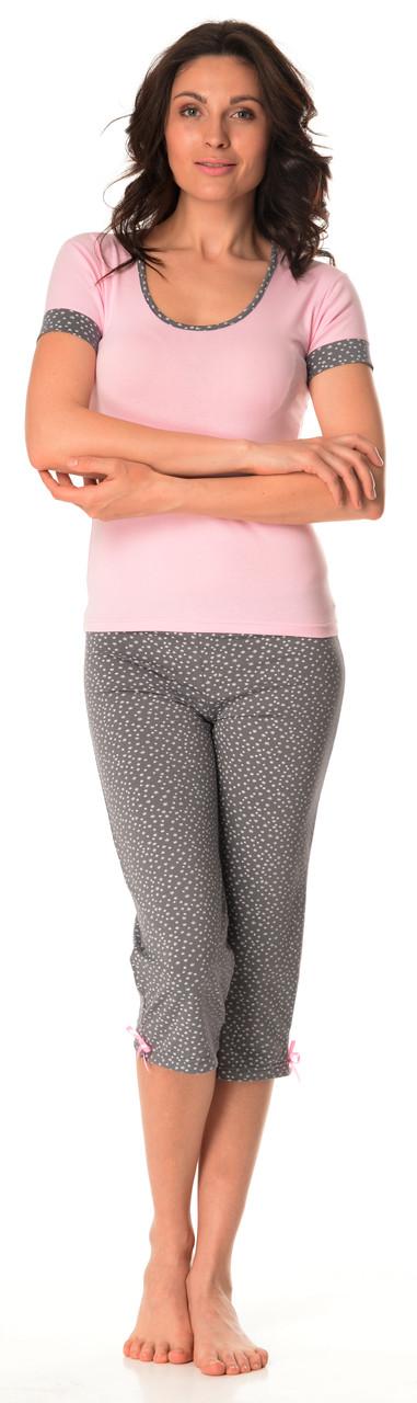 Бавовняна жіноча піжама (футболка і бриджі) 0127/130 48-50(XL), Хлопок