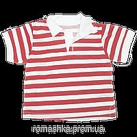 Детская футболка-поло для мальчика р. 74 ткань КУЛИР 100% тонкий хлопок ТМ Белоснежка 3111 Красный