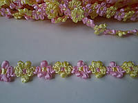 Тесьма Цветок желто - розовый ширина 15 мм / 1 метр