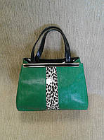 Сумка женская зеленая(цвета травы) с декоративной вставкой(Турция)