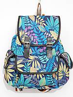 Рюкзак листья черный с голубым, фото 1