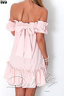 Летнее котоновое платье с бантом на спине