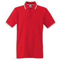 Красное поло с белой окантовкой Premium