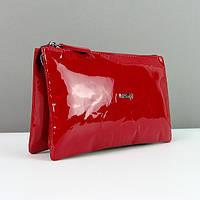 Красный лаковый клатч кожаный женский Desisan