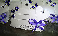 Рассадочная карточка ручной работы бело-фиолетовые