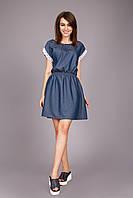 Летнее комфортное платье из очень тонкой натуральной джинсовой ткани