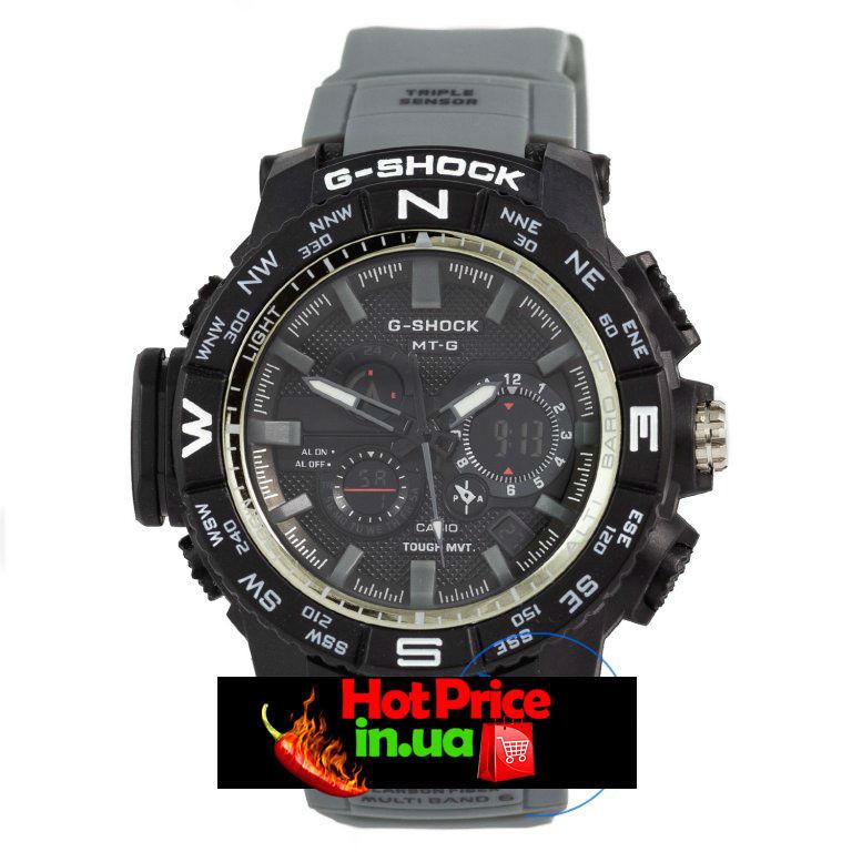 Часы  MTG-1000 Черные с серым ремешком