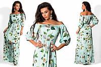 Платье женское длинное сатиновое с цветами P2525