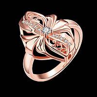Кольцо пуансеттия покрытие золото 18К