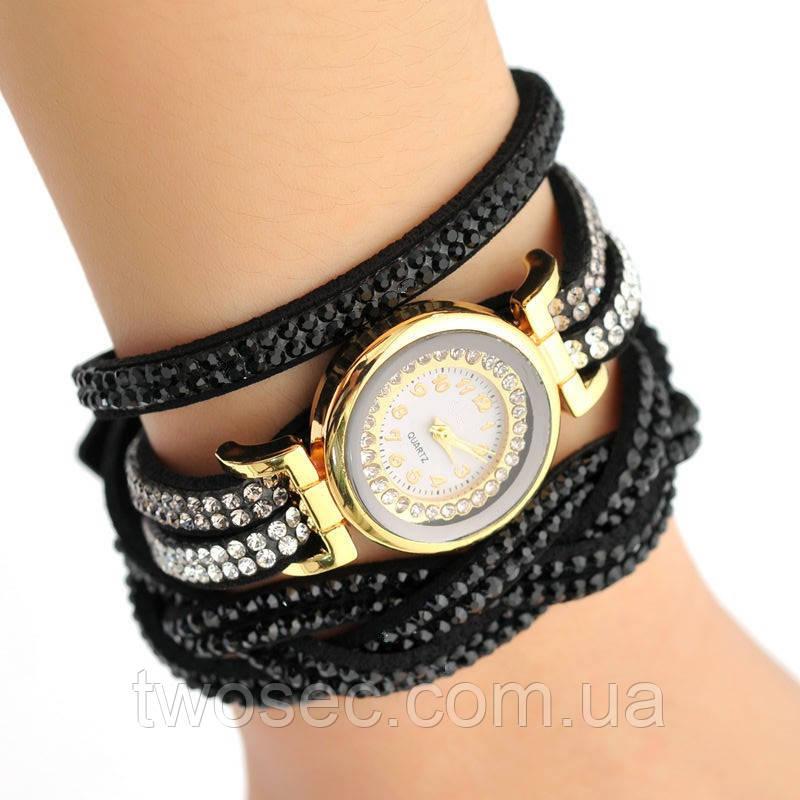Женские наручные кварцевые часы-браслет со стразами Relogio черные стразы