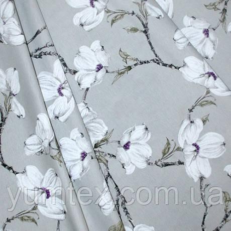 Ткань в стиле прованс, рисунок цветение магнолии, фон серый