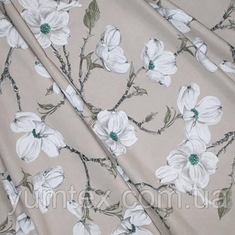 Ткань в стиле прованс, рисунок цветение магнолии, фон бежевый