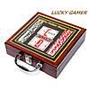 Набор для игры в покер в деревянной коробке 100 фишек с номиналом WS-1, фото 5