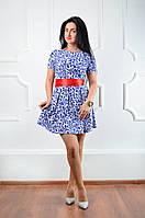 Женское платье с атласным поясом 016