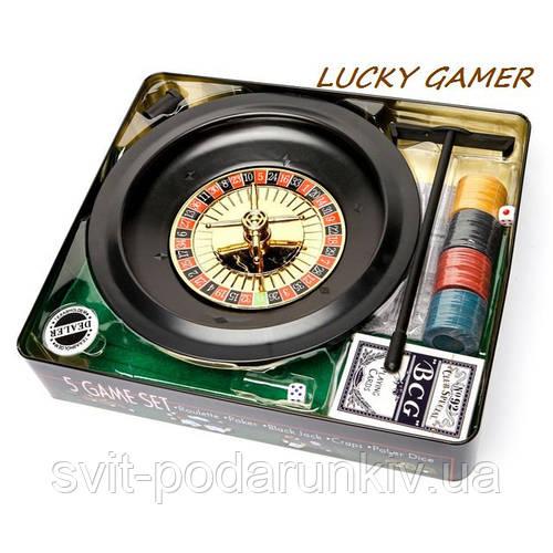 Настольная игра рулетка и покерный набор с фишками в подарочной коробке RSS1060T
