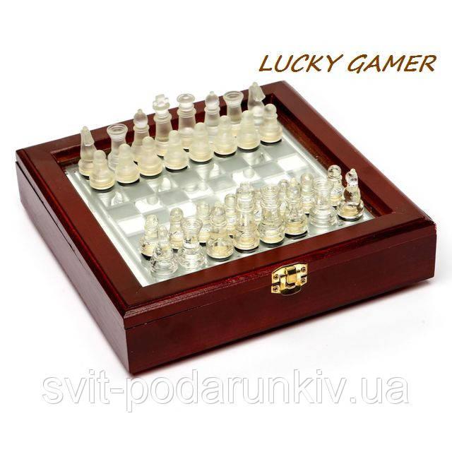 Шахматы стеклянные настольные в коробке из дерева и стекла малые