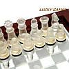 Шахматы стеклянные настольные в коробке из дерева и стекла малые, фото 2