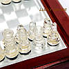 Шахматы стеклянные настольные в коробке из дерева и стекла малые, фото 3