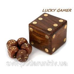 Кости игральные эксклюзивные GS150A или кубики для нард в деревянной шкатулке