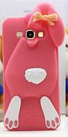 Объемный 3D силиконовый чехол для Samsung Galaxy E7 E700 Заяц розовый