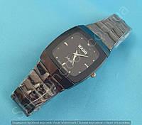 Часы Rado Jubile 114008 женские прямоугольные темная сталь с черной вставкой со стразами