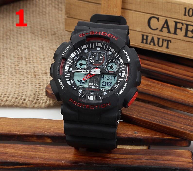 Часы  GA100 черные с красным