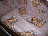 """Детское постельное белье """"Мишки спят"""" розовые, 9 предметов"""