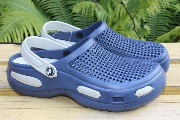 Мужские кроксы 44/45. Синие с серым. ТМ Jose Amorales, фото 1