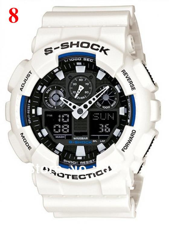 Часы  GA100 белые с черным циферблатом