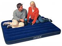 Полуторный надувной матрас Classic Downy Bed Intex 68758, матрас велюровый 191*137*22см, надувной матрас Интек