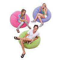 Надувное велюровое кресло Intex 68569 107*104*69см, надувное кресло для дома intex, надувное кресло мешок