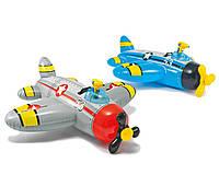 Надувной плотик с водным пистолетом Intex 132х130 см (57537), плотик-самолет, плотик детский для плавания