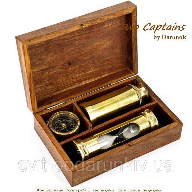 Подарочный набор подзорная труба компас песочные часы