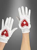 Белые перчатки с красным крестом