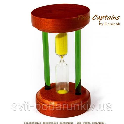 Стеклянные песочные часы на 3 минуты в корпусе деревянном BMS89