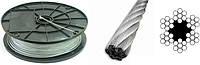 Трос 1,5 мм оцинкованный DIN 3055 6×7(1+6)+1 о.с.Для талей, для кабель-кранов, для стоячего такелажа.