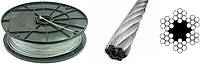 Трос 3,0 мм оцинкованный DIN 3055 6×7(1+6)+1 о.с.Для талей, для кабель-кранов, для стоячего такелажа.