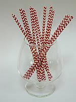 Бумажные трубочки бело-красные с рисунком 12 шт