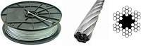 Трос 4,0 мм оцинкованный DIN 3055 6×7(1+6)+1 о.с.Для талей, для кабель-кранов, для стоячего такелажа.