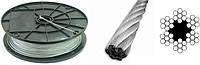 Трос 5,0 мм оцинкованный DIN 3060 6×19(1+6+12)+1 о.с.Для талей, для кабель-кранов, для стоячего такелажа.