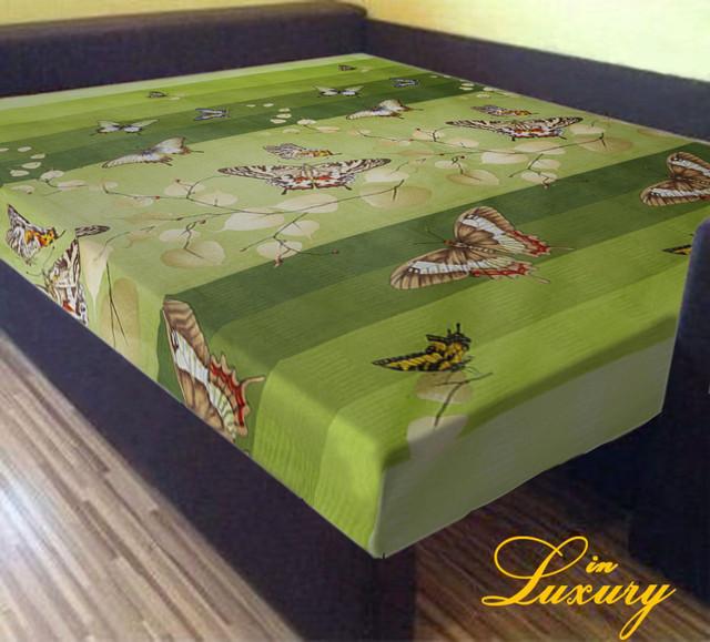 Простынь на резинке 160х200 см «Бабочки на зеленом фоне» in Luxury™ арт.32005