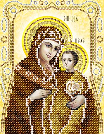 """Схема для вышивки бисером на атласе икона """"Богоматерь Вифлеемская"""" (золото), фото 2"""