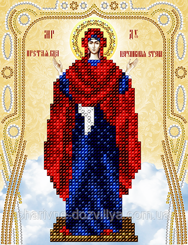 """Схема для вышивки бисером на атласе икона """"Богородица Нерушимая стена"""""""