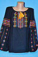 Черная женская блуза с вышивкой