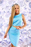 """Летний женский костюм жаккард """"Santorini"""" юбка-карандаш и топ (2 цвета)"""