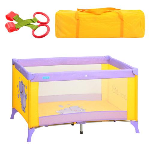 Манеж-кровать Bambi M 1546 бегемотик фиолетово-желтый