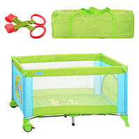 Манеж-кровать Bambi M 1601 львенок зелено-голубой, фото 1